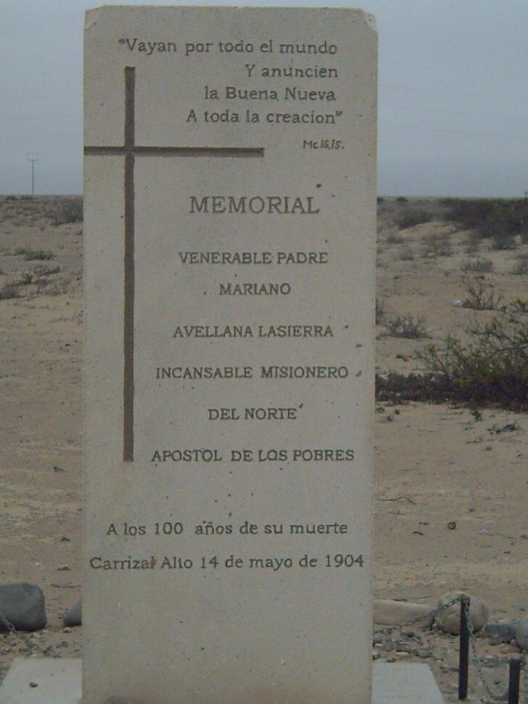 Monolito levantado por los misioneros claretianos en memoria del V. Padre Mariano, en el centenario de su muerte. Se encuentra en camino hacia el que fuera el pueblo de Carrizal Alto.